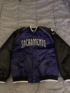 Sacramento Kings Nike Jacket Black/Purple Kids Sz Large Satin Vintage 90's Rare