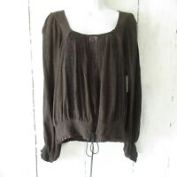 New Free People Silverlake Embroidered Top L Large Brown Black Boho Peasant