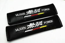 2Pcs Mugen Power Black PU Leather Embroidery Car Seat Belt Cushions Shoulder Pad