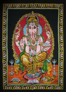 Indian Hindu God Lord Ganesh Sequinned Wall Hanging 43 x 56 cm