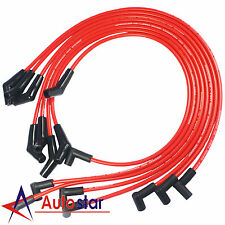 Red HEI Spark Plug Wires Spiral Core 45 Degree End For BBC Chevy 396-427-454-502