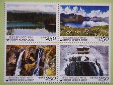 Korea 2007 Korean Mountain Series 4th Issue Mt Paekdu Lake Fall Block/4 MNH