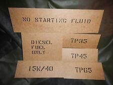 CUCV Oilboard Stencil Set m1009 m1008 m1028 m1010 military truck blazer Chevy