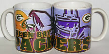 Green Bay Packers Ceramic Coffee Mugs - QTY 3 (Player Design)