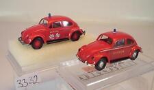 Brekina 1/87 2 x VW Käfer 25209 Feuerwehr Japan & Feuerwehr Ville d´EU OVP #3332