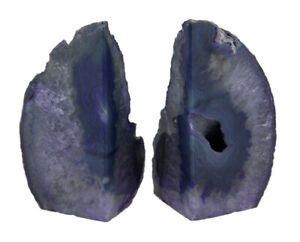 Zeckos Small Polished Purple Brazilian Agate Geode Bookends <4 Pounds