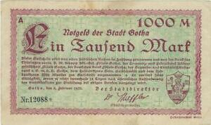 NOTGELD GERMANY  GOTHA -- 8 FEBR 12923-  1000 MARK //867