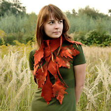 Rust & copper women scarf with fall leaves perfect for autumn, felted wool leaf
