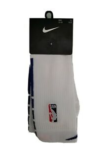New Nike NBA Authentic Elite Basketball Socs  White Blue PSK647-101 Men's 12-15