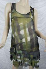 THE ARK army green geometric print semi-sheer tunic dress size S EUC