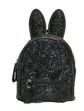 BLACK BACKPACK WITH GLITTERS AND BUNNY EARS