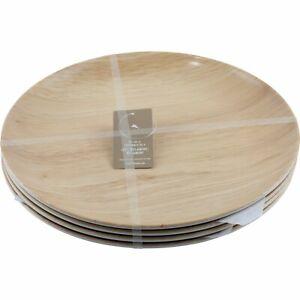 Tommy Bahama Faux Bamboo Wood Grain Dinner Plates Melamine Set of 4