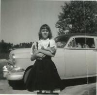 1954 Chevrolet Classic Car Photo Pretty Girl Holding Kitten Vintage