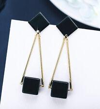 Charm Women Lady Black Geometric Square Earrings Drop Dangle Long Cubic Pendant