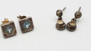 925 Silver Citrine 3.2mm Topaz 4.4mm Earrings 2Pr Lot DY988