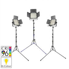 PIXAPRO ® Leco 500B II Bi-Color LED Luz de vídeo triple KIT con soportes de foto