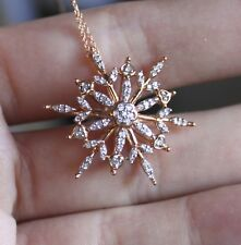 10k Rose Gold Natural Diamond SnowFlake Pendant Necklace