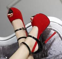 Sexy Womens Peep Toe Ankle Strap Buckle Sandals High Stiletto Heel Sandals Shoes