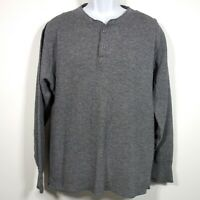 Vtg LL Bean River Drivers Shirt Men's Large USA Made Wool Blend Henley Gray