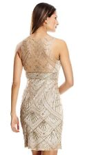 Size 14 * SUE WONG Champagne Silver Beaded Sequin Bridal Cocktail Evening Dress