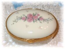 Lenox Petite Rose Trinket Treasure Box Porcelain Roses Oval Hinged