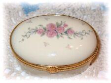 Lenox Petite Rose Trinket Treasure Box Porcelain Roses Oval Hinged
