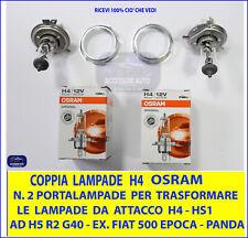 Coppia LAMPADE H4 + Convertitore Adattatore per FIAT Panda 750 dal 1986 al 2003