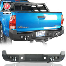 For Toyota Tacoma 05-15 Rear Bumper w/ LED Floodlights & D-Rings Powder Coated