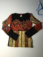 Save The Queen Colorful Fringe Artsy Boho Festival Hippy Blouse Top Italy Sz L