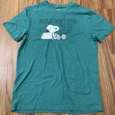 Snoopy Green Mens Shirt Medium Peanuts Please Dont Make Me Do Stuff