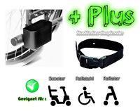Stockhalter Doppelkorb + Snap Lasche Gehstock Rollator Rollstuhl für 21 mm Rohr
