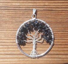 NATURAL BLACK TOURMALINE TREE OF LIFE  WIRE WRAPPED PENDANT STONE GEMSTONE