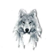 GREY WOLF FEATHERS PLANAR FLAT BACK RESIN PACK OF 4 Badge Scrapbook Crafts RN10