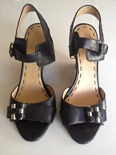 Nine West Black Leather Sandals Wedge Heel - free local delivery