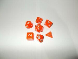 pack de 7 dados de rol naranja
