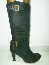 Moda in Pelle Excellent Black Leather High Heel Knee High Boots 3.5 / 36