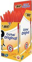 BIC RED Ink CRISTAL Medium Ball Pens BIC Biros Ball Point Pens Home Office