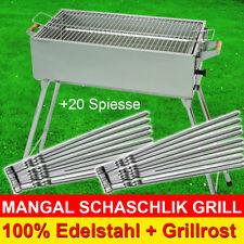 MANGAL + 20 Spieße - Schaschlik GRILL  aus Edelstahl mit Grillrost ??????
