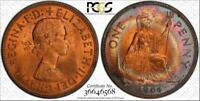 1964 GREAT BRITAIN ONE PENNY BU PCGS MS64RB RAINBOW TONED ONLY 2 GRADED HIGHER