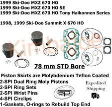 1998 1999 Ski Doo 670 HO MXZ SE Tony Summit X 78 mm SPI Pistons Gaskets O-rings