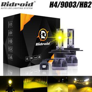 2x H4 9003 LED Headlight Bulbs 200W 320000LM HI-LO Beam Lamps 3000K Yellow Light