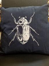 "NWT IKEA Tistelfjaril 18"" x 18"" pillow white beetle, navy blue material"