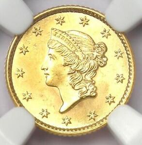 1853 Liberty Gold Dollar G$1 - Certified NGC MS65 (GEM BU UNC) - Rare in MS65!