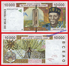 IVORY COAST WEST AFRICAN STATES 10000 Francs francos 1999 Pick 114Ah  SC  / UNC