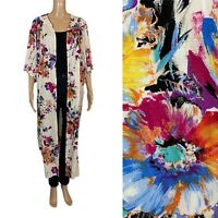 UMGEE Boho Artsy Abstract Kimono Topper Duster Cardigan Long Floral Print Sz L