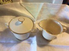Lenox Hayworth Ivory Gold Trim Cosmopolitan Cream And Sugar  Bowl with Lid