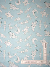 The Flintstones Fred Barney Wilma Toss Blue Cotton Fabric Camelot - By The Yard