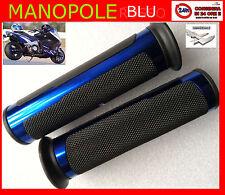MANOPOLE  universali x moto gomma + alluminio 1 coppia BLU AZZURRO ANODIZZATO
