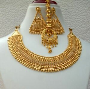 "4Indian 22K Gold Plated Bollywood 9"" Long Gorgeous Necklace Earrings Tikka Set a"