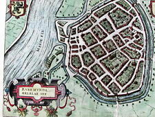 Roermond Netherlands Holland city plan dragon crest 1582 Antwerp Plantijn map